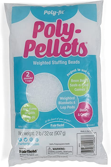 2 Pound Bag EVOSTROM Poly-Pellets Weighted Stuffing Beads//Plastic Pellets