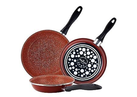 Magefesa Terracota - Set Juego 3 Sartenes 20-24-28 cm, inducción, antiadherente GRANITO libre de PFOA, limpieza lavavajillas apta para todas las cocinas, ...