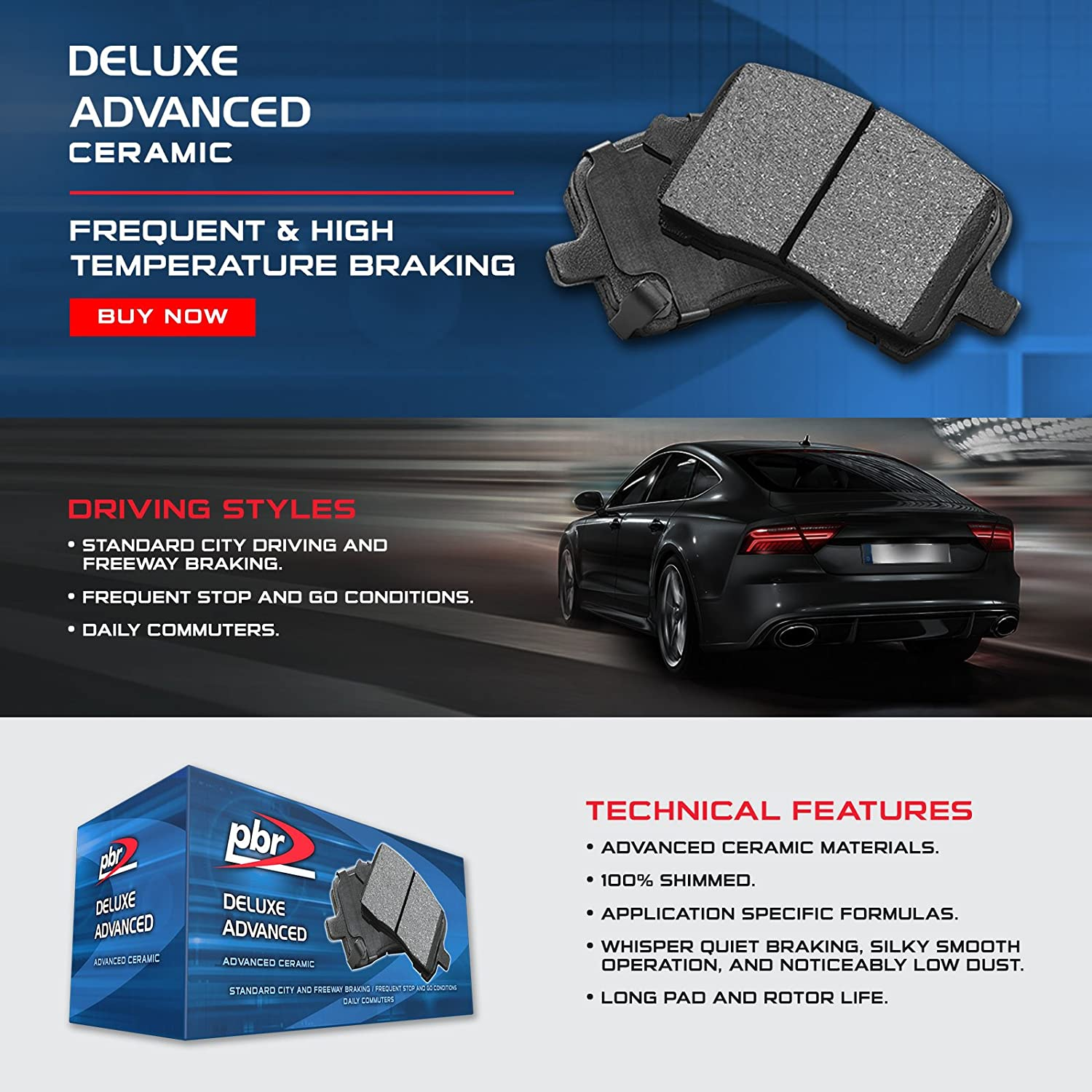 Ceramic Brake Compound 3551-1107-00 Front PBR-AXXIS Deluxe Advanced Brake Pads