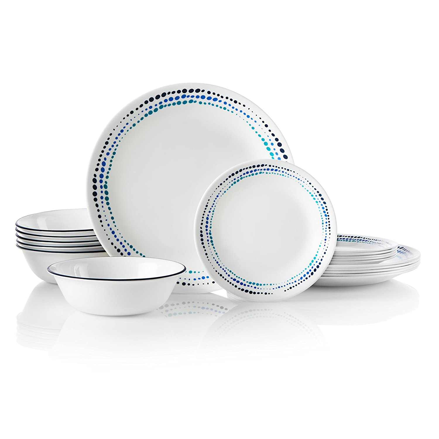 Corelle 1134331 Dinnerware Set 18-Piece Ocean Blues