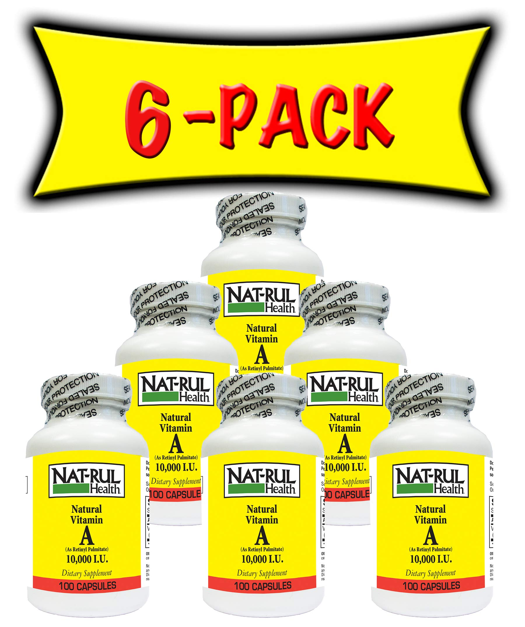Nat-rul Health Vitamin A 10000iu 100 Capsules (6 PACK)