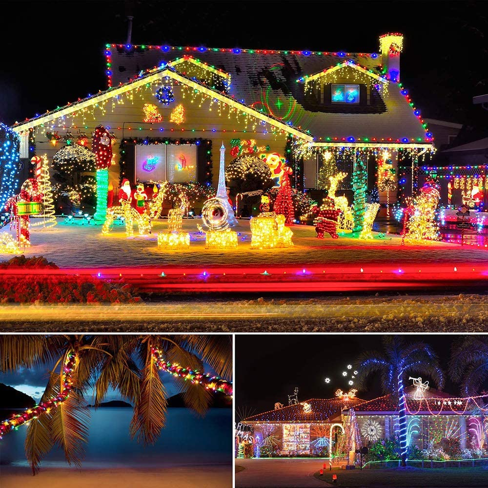 10M 100LEDs Waterproof Battery Operated Outdoor String Light SUNICOL LED Rope Light 8 Modes LED Fairy Strip Light for Garden Patio Christmas Warm White