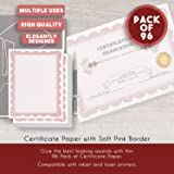 96 Pack Certificate Papers - Blank Award Diploma