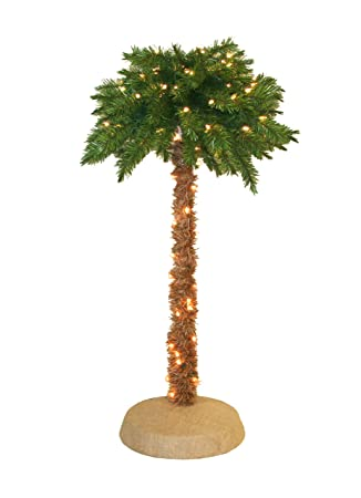 Attractive Pre Lit Palm Tree, 5 Feet, 150 Clear Lights