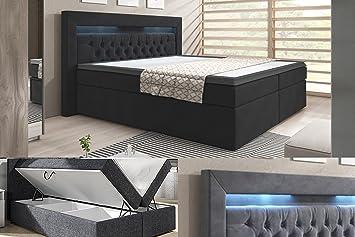 Cama con somier cama York/Supreme/Lift Función/Buzón/Hotel cama, schwarz kunstleder, 140 x 200 cm: Amazon.es: Hogar