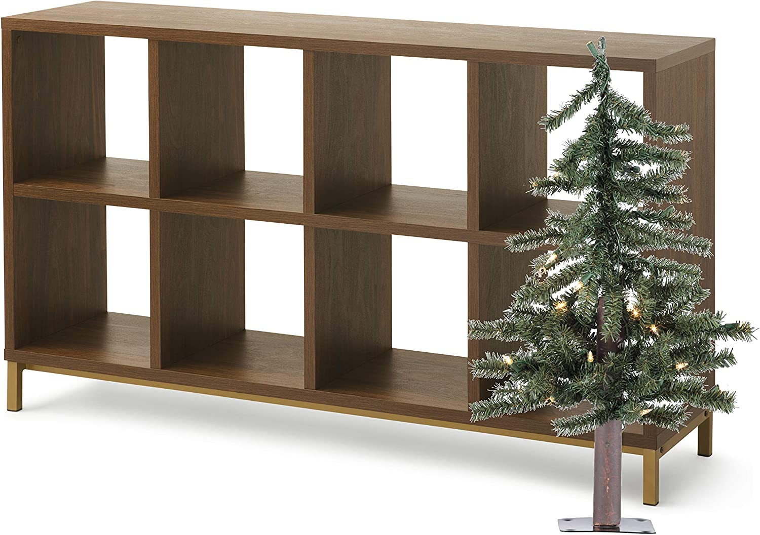 Better Homes and Gardens 8-Cube Organizer with Special Tree Bundle, Classic Walnut