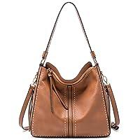 Large Leather Hobo Handbag for Women Concealed Carry Studded Shoulder Bag Crossbody Purse