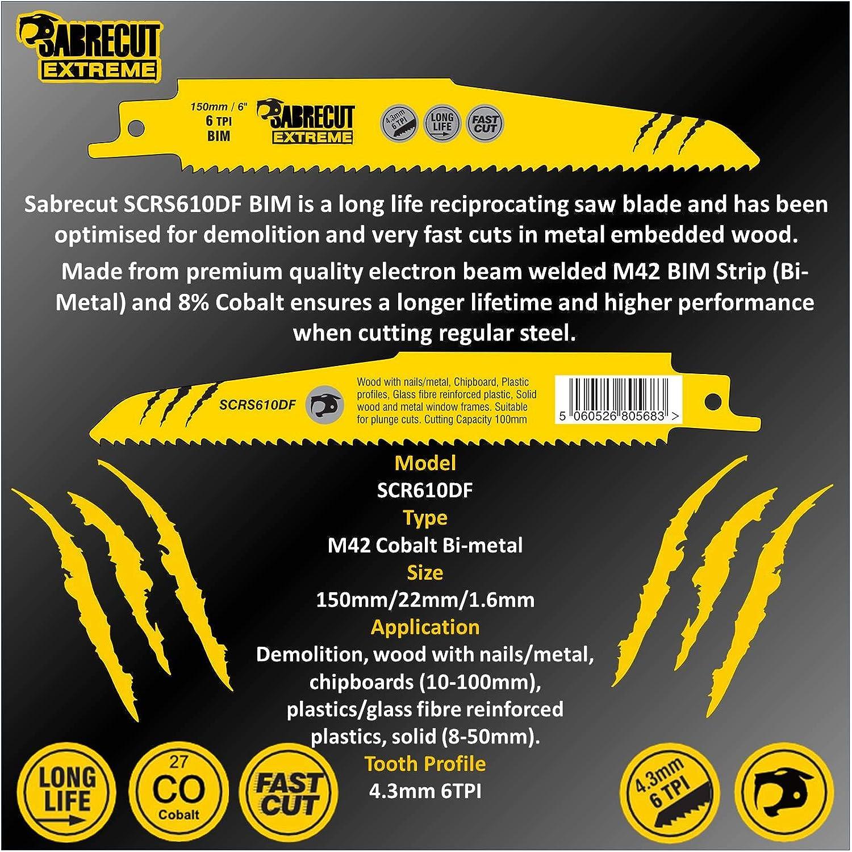 10 x SabreCut SCRS610DF/_10 150mm 6 TPI Z/ähne//inch S610DF schnell Holz und Metall schneiden schwingende Sabre S/ägebl/ätter f/ür Bosch Dewalt Makita uvm