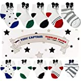 Baby Boys Socks Toddler 1-3 Year Old Boy Best Cotton Crew Sock Dogs, Stripes, Dots from Tiny Captain (White)