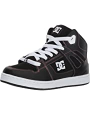 DC Pure HIGH-TOP Girls Skate Shoe, Black/Pink, 3.5 M M US Big Kid