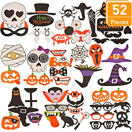 tatuo 52 pieces halloween party photo booth props halloween props diy pictures favors for party decorations