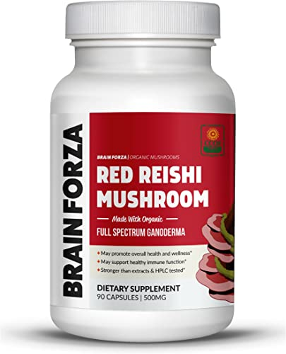 Brain Forza Organic Red Reishi Mushroom Capsules – Adaptogen for Mushroom Powdered Natural Immune Support, Heart and Cardiovascular System Health, Stamina, and Stress Management, 90 Capsules