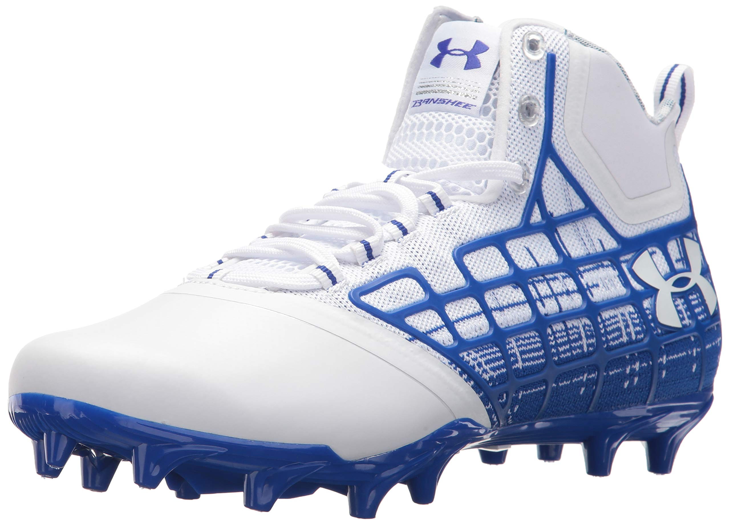 Under Armour Men's Banshee Mid MC Lacrosse Shoe, White (141)/Team Royal, 7