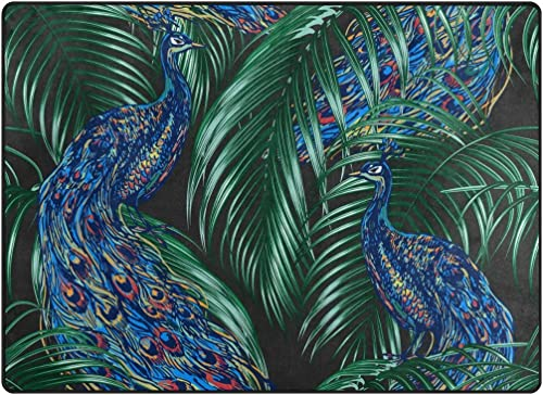 ALAZA Peacock Tropical Palm Leaves Area Rug Rugs Mat
