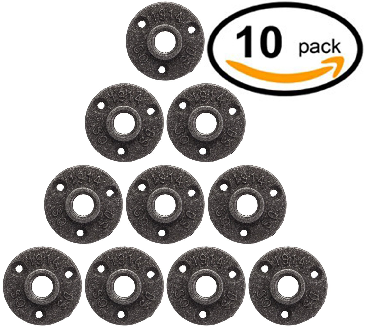 10 Pack 1/2'' Floor Flange Pipe Decor Cast Iron Black Pipe Floor Threaded Pipe Fitting Industrial Steampunk Vintage Retro Decor Furniture DIY Wall Industrial Plumbing by Brooklyn Pipe