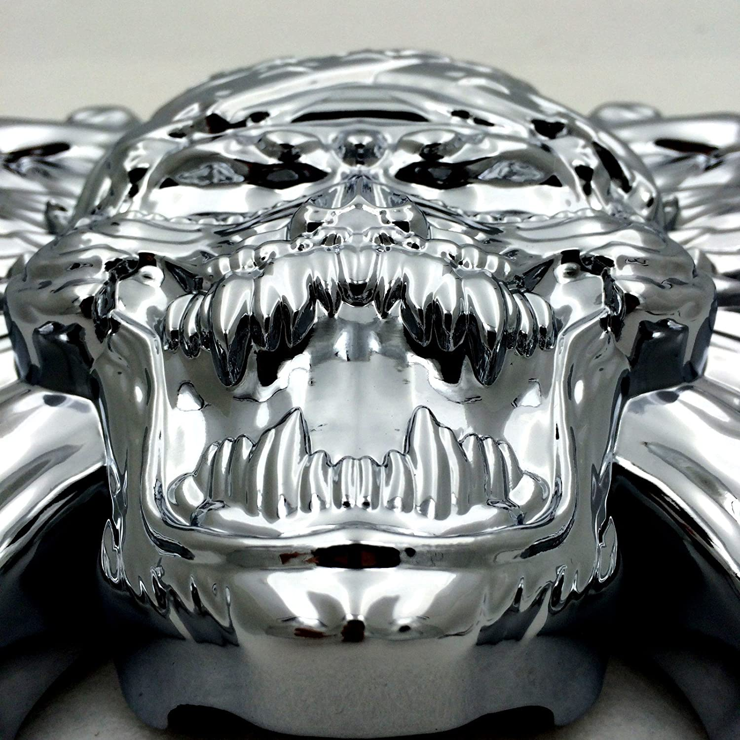 NBX Chrome Skull Zombie with Wing Cross Bone Horn Cover For Compatible with 1992-2005 2006 2007 2008 2009 2010 2011 2012 2013 2014 2015 Harley Davidson with Side MountCowbell and all V-rods