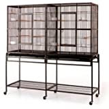 "Large Double Flight Bird Wrought Iron Double Cage w/ Slide Out Divider 3 Levels Bird Parrot Cage Cockatiel Conure Bird Cage 63""Lx19""Dx64""H W/Stand on Wheels"