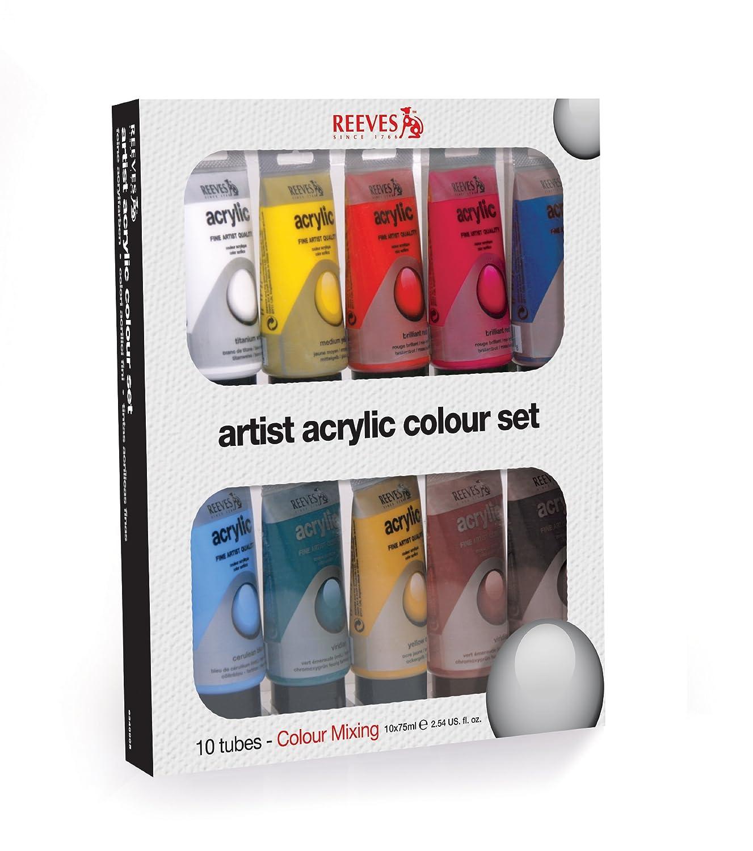 Reeves 8340905 Acrylfarbe Set, 10 x 75 ml Tuben: Amazon.de: Küche ...