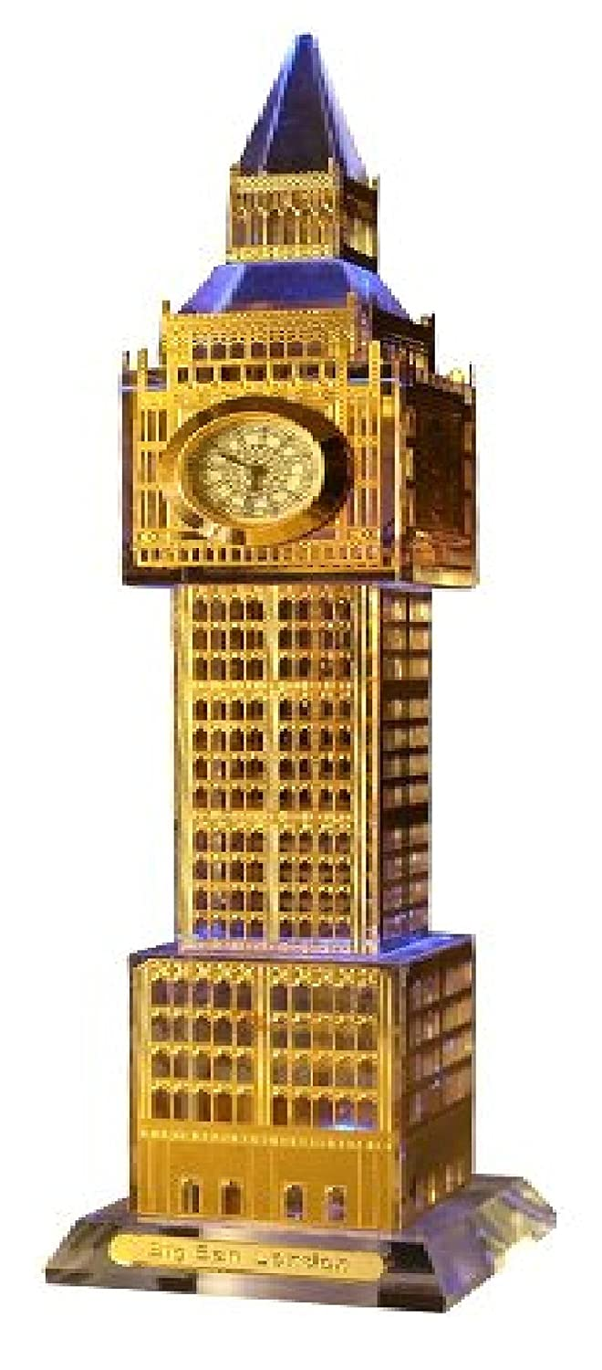 Crystal London Big Ben Clock with Lights, England Gold Souvenir - 24cm Shoponica