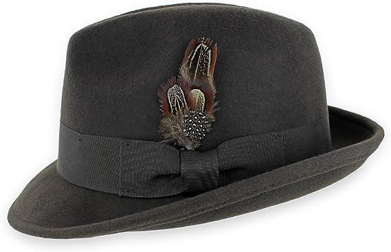 Classic Fedora 100/% Wool Crushable Trilby Stingy Brim Dress Derby Hat Cap Black