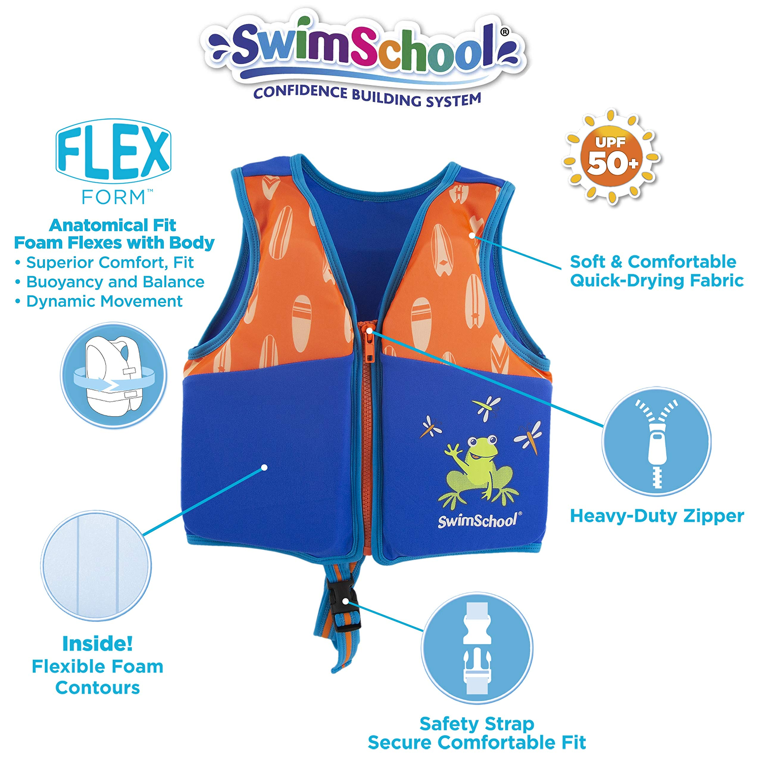 SwimSchool New & Improved Swim Trainer Vest, Flex-Form, Adjustable Safety Strap, Easy on and Off, Small/Medium, Up to 33 lbs., Blue/Orange
