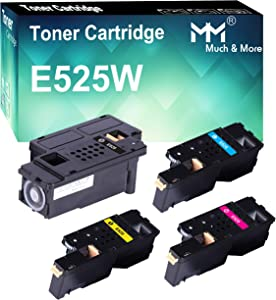 (4-Pack, K+C+M+Y) Compatible Toner Cartridge Replacement for Dell E525W E525 Dell E525W Wireless Color Laser Printer for 593-BBJX 593-BBJU 593-BBJV 593-BBJW, by MuchMore