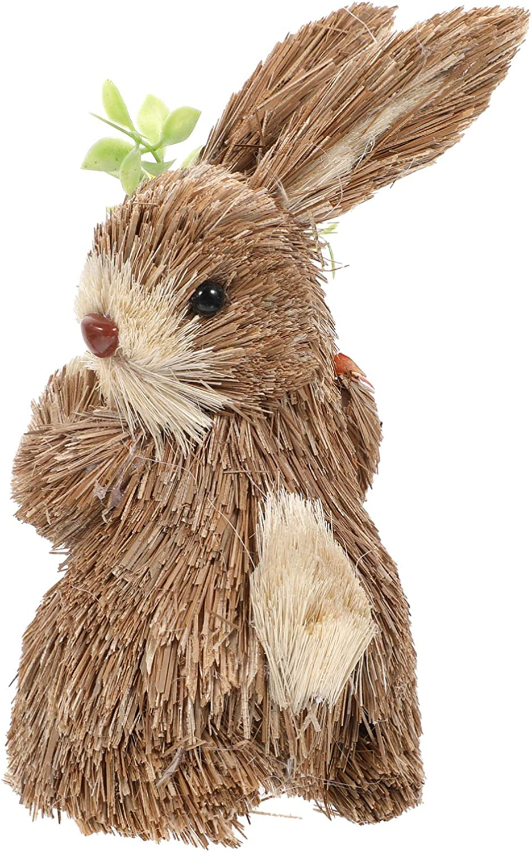 NUOBESTY Easter Rabbit Statue Standing Bunny Sisal Easter Bunny Lifelike Hand-Woven Straw Animal Figurine Decoration for Birthday Festival Decor