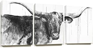 Hi Y'all Highland Cow Canvas For Texas Longhorn Wall Decor SEEN ON HGTV - Cow Painting For Western Wall Decor Or Rustic Wall Art 3 Piece Canvas Wall Art 48x20