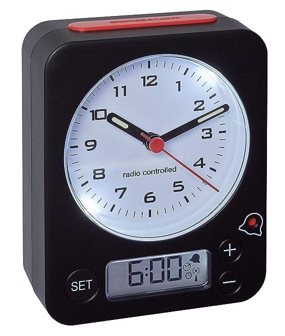 TFA Dostmann Combo Funkwecker, Uhrzeit Analog und Wecker Digital, Funkuhr mit Hoher Präzision, leise, rundumlaufende Beleucht