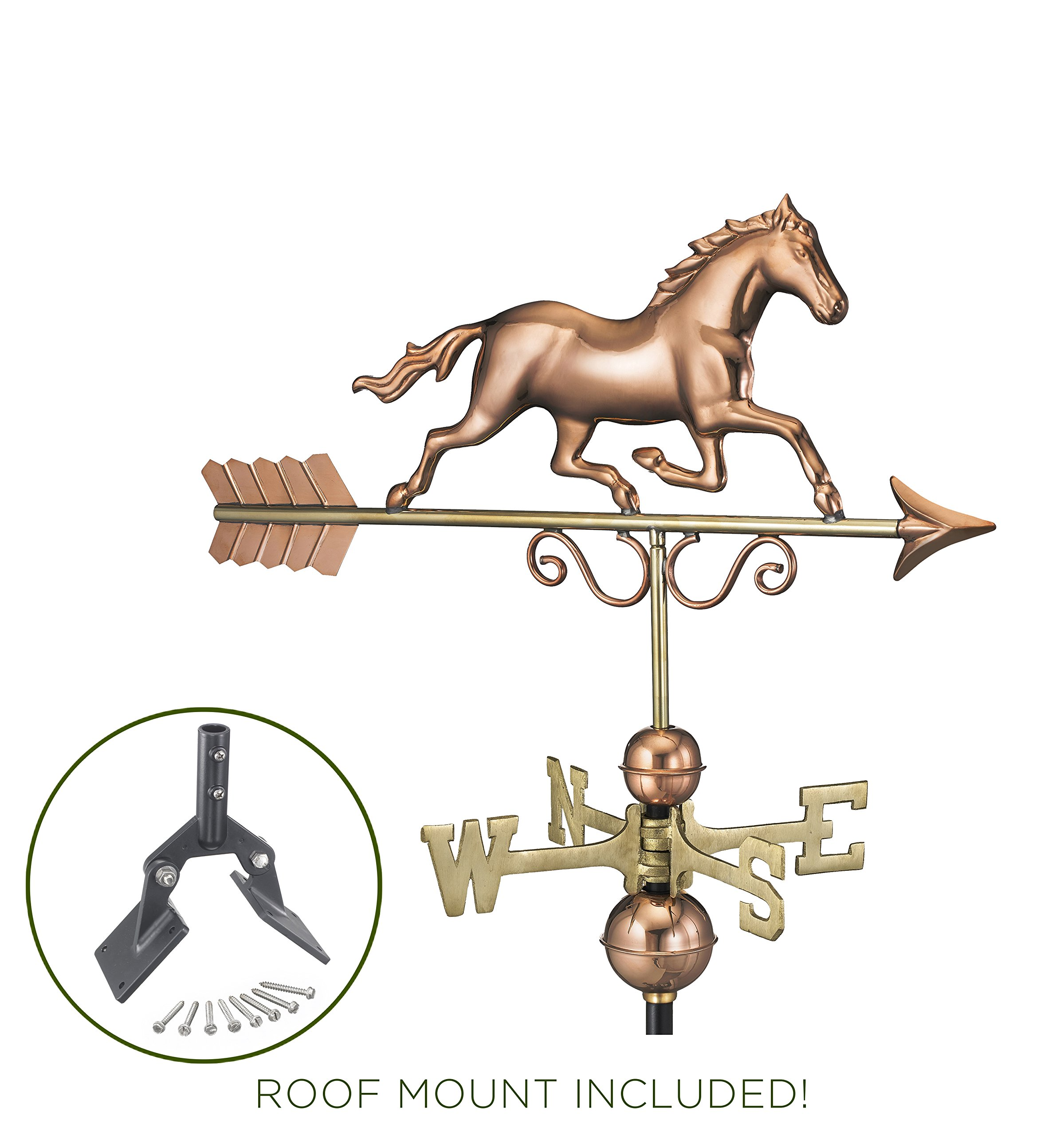 Good Directions Galloping Horse Weathervane with Roof Mount - Pure Copper