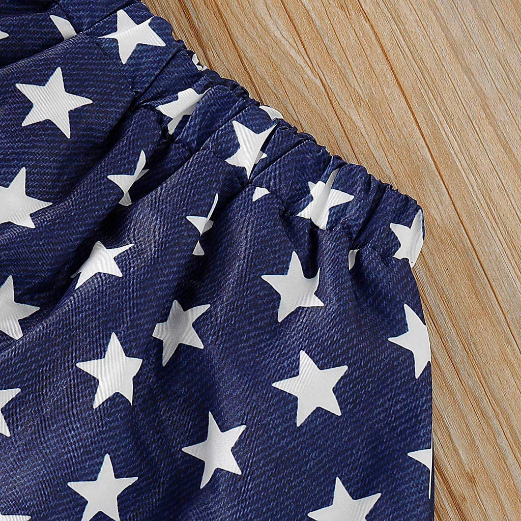 Toddler Kids Baby Girl 4th Of July Stars And Stripe Patriotic t-Shirt Tops Skirt Dress Clothes Outfit 1-5 Years