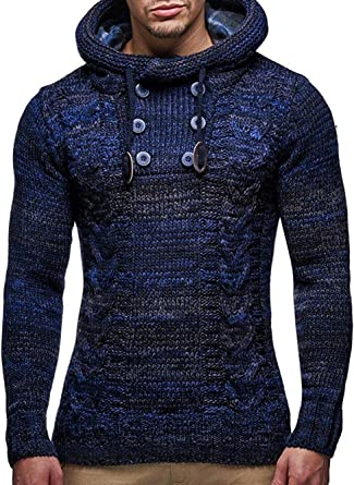 Okwin Camisetas para Hombre Camisa de Manga Larga Cardigan de Punto Encapuchado Casual Poleras Deportes Polo Fitness Remeras Sudaderas con Capucha Chándal Suéter: Amazon.es: Ropa y accesorios