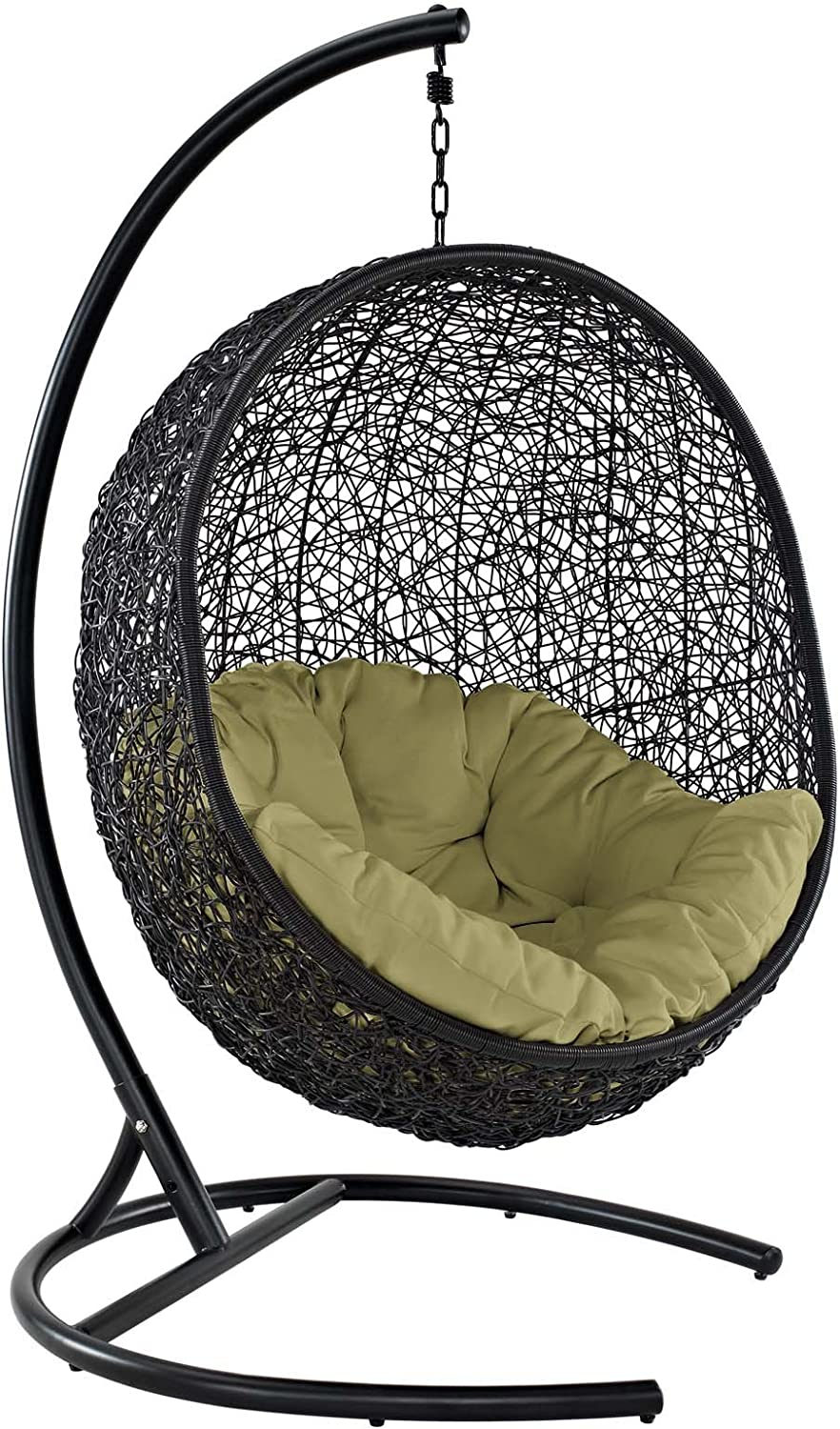 Modway EEI-739-PER-SET Encase Wicker Rattan Outdoor Patio Porch Lounge Egg, Swing Chair with Stand, Peridot