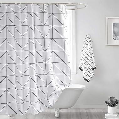 Seavish Fabric Shower Curtain, White Geometric Quick Drying 72 x 72 inch Bathroom Shower Curtain Set with Hooks (White Geometric)