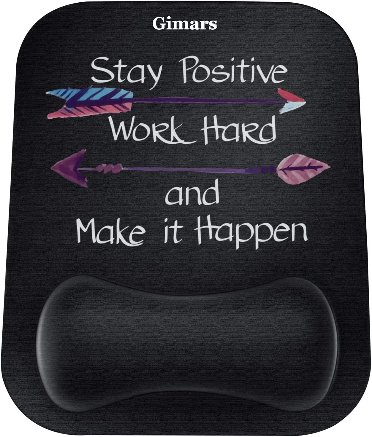 Gimars Large Gel Memory Foam Ergonomic Mouse Pad Wrist Rest Support - Positive Life Theme Mousepad for Laptop, Computer, Gaming, Office - Comfortable for Easy Typing and Pain Relief