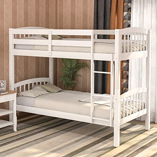 Harper Bright Designs Bunk Bed Solid Wood Twin Over Twin Bunk Bed