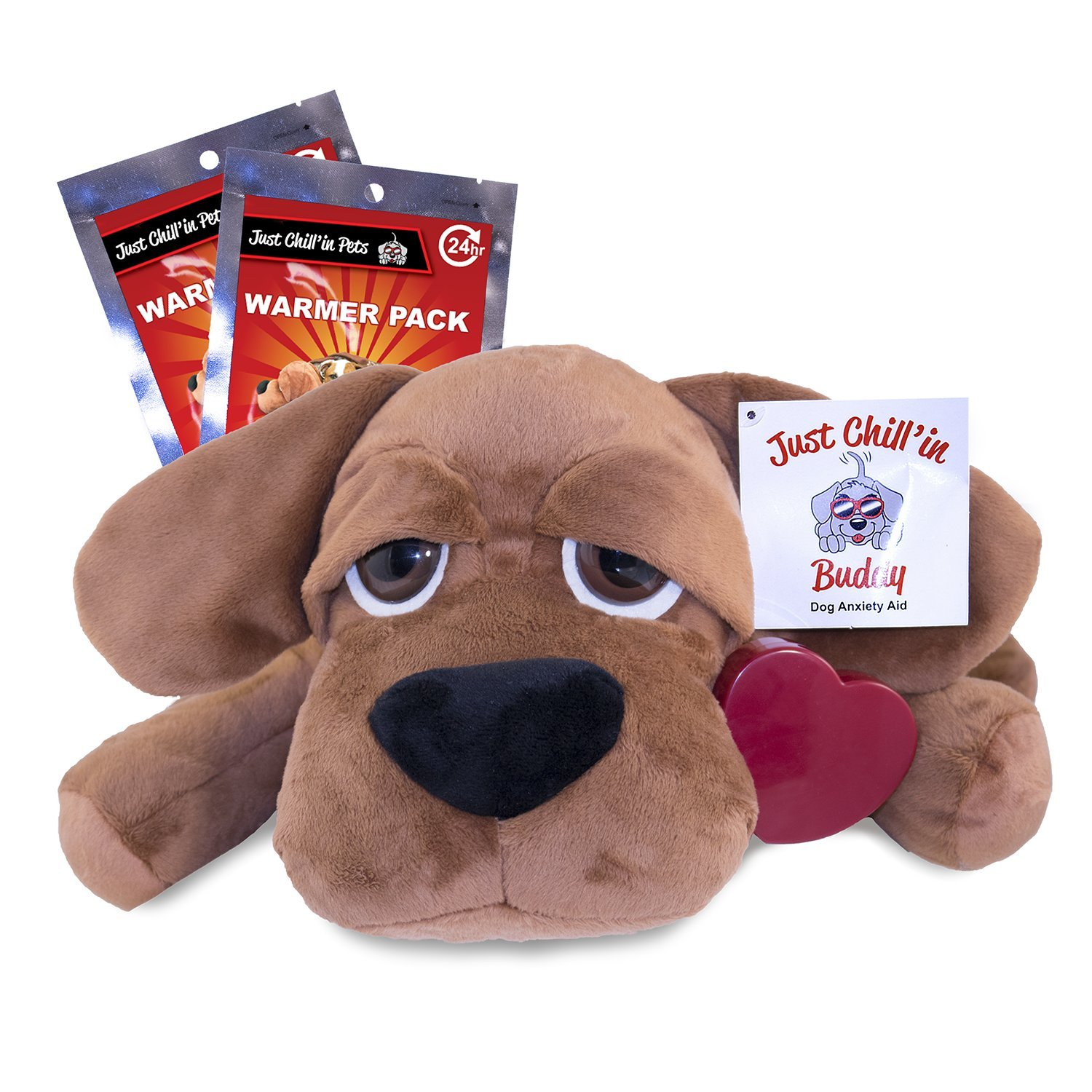 Just Chill'In Pets Heartbeat Puppy Toy for Separation Anxiety Relief - Dog Snuggle Puppy Plush Toy with Heartbeat