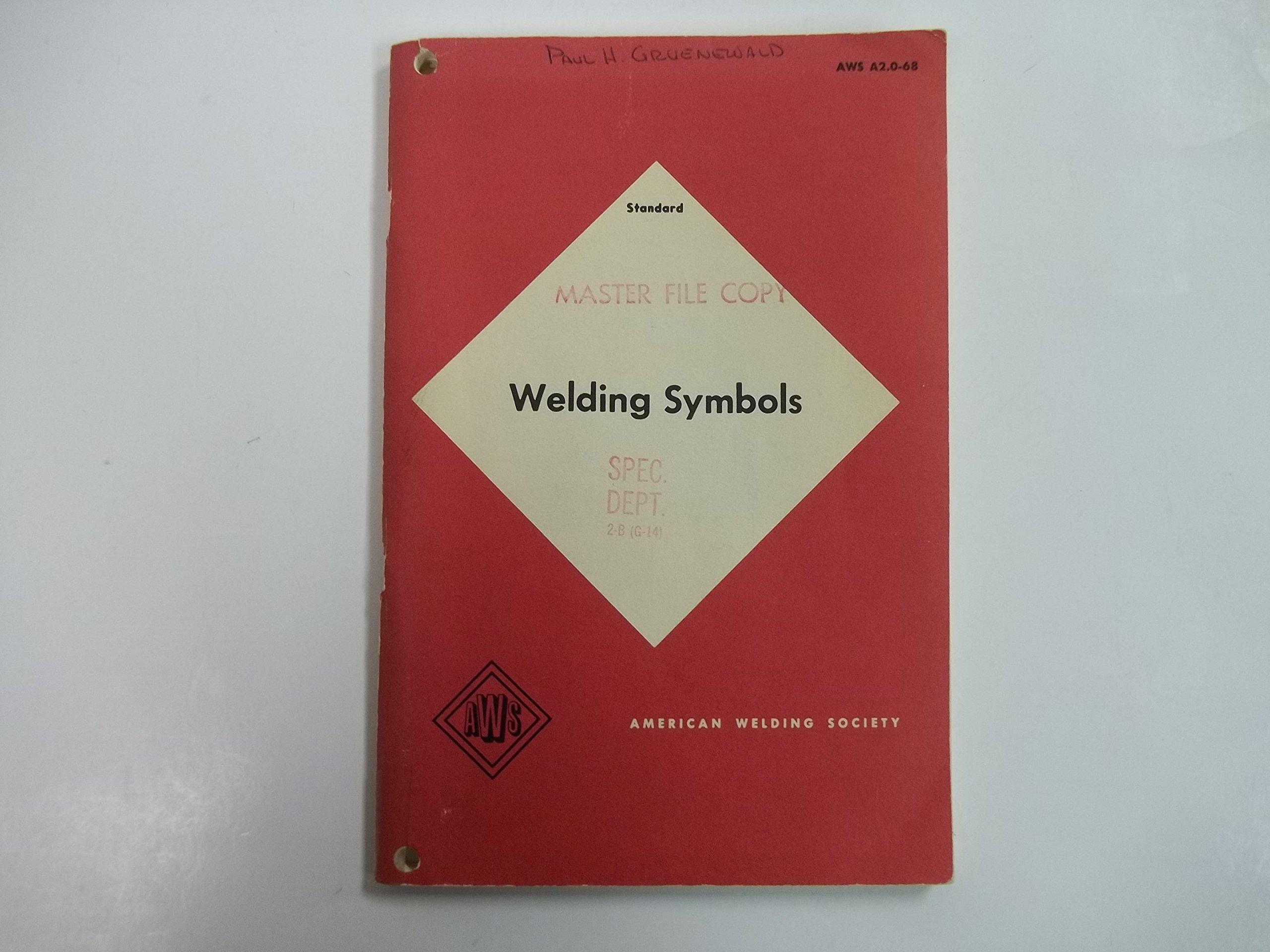 Standard Welding Symbols A20 68 American Welding Society Amazon