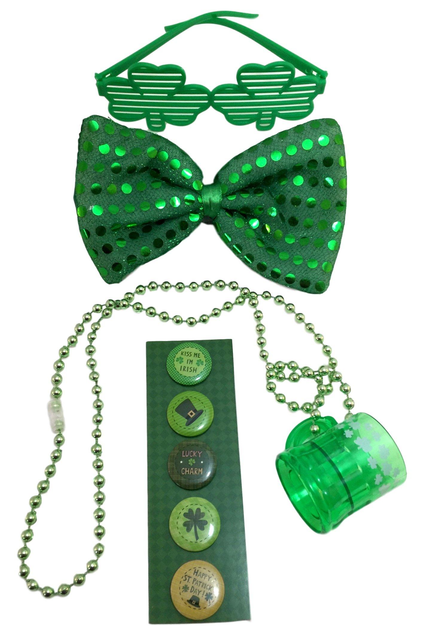 St Patricks Day Bundle-Sequin BowTie, Shuttered Shamrock Glasses, 5 Irish Buttons & Shot Glass Necklace