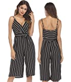 OUMAL Women Cute Striped Romper Backless V Neck Spaghetti Strap Boho Summer Jumpsuit with Belt