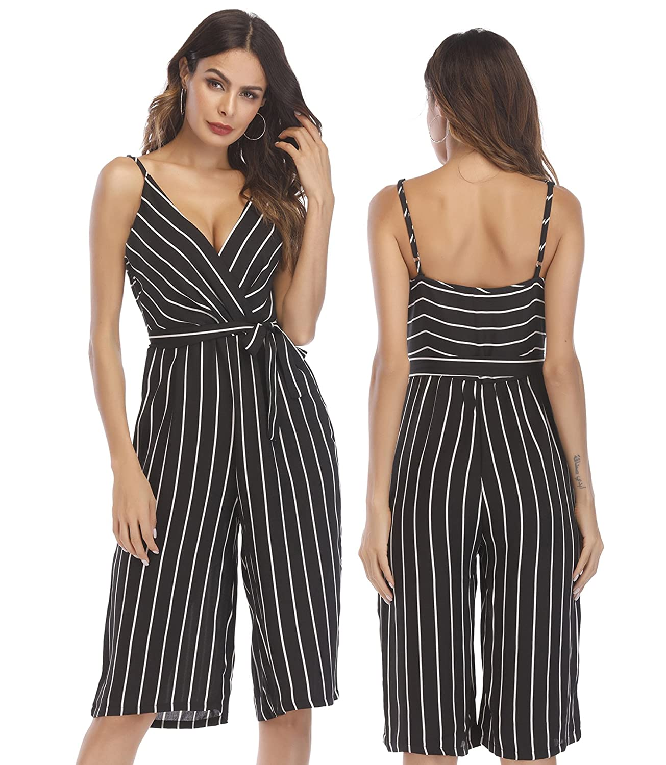 24afb0e28fda Amazon.com  OUMAL Women Cute Striped Romper Backless V Neck Spaghetti Strap  Boho Summer Jumpsuit with Belt  Clothing