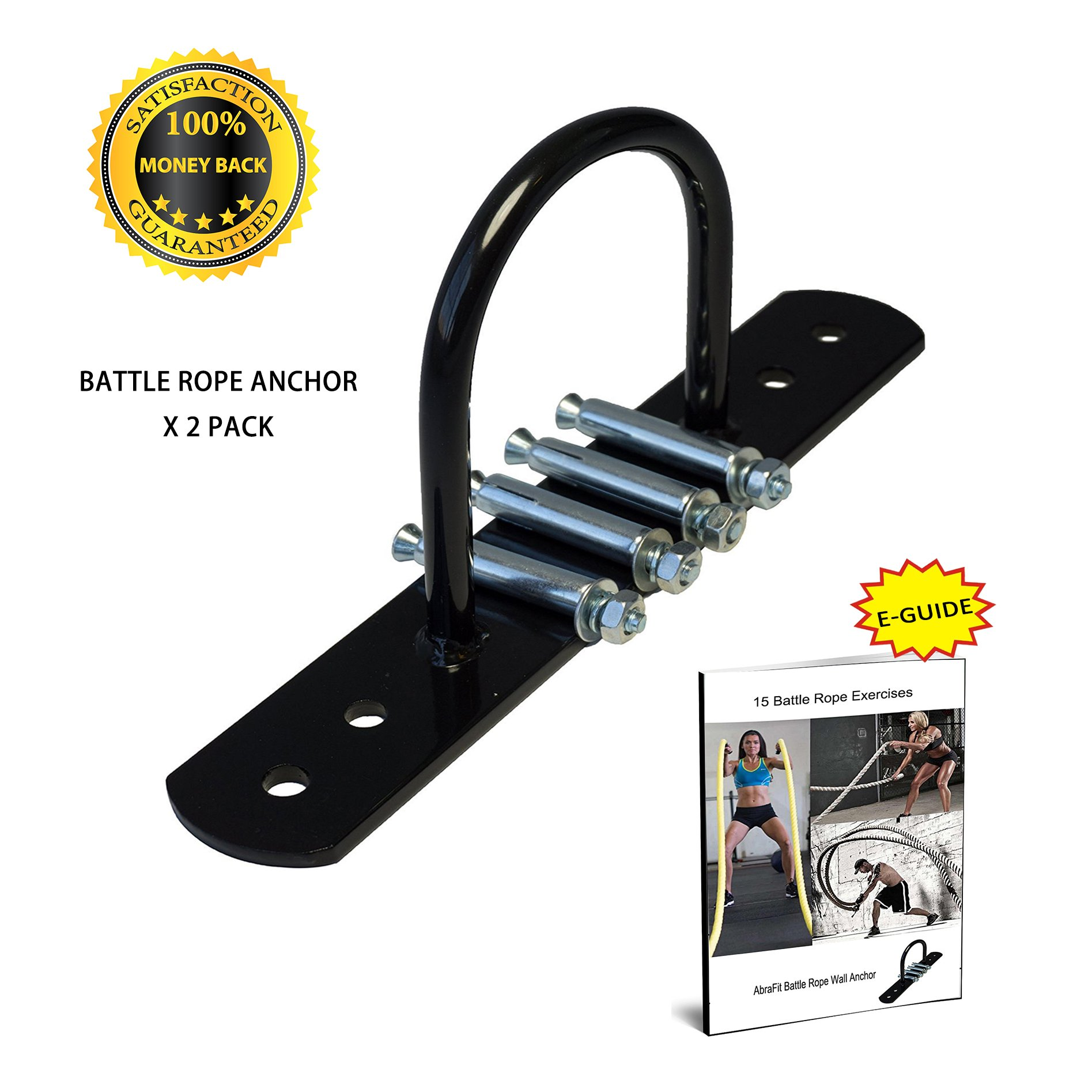 AbraFit Battle Rope Wall Anchor Walll Mount, Ideal Anchoring Solution for Battle Rope, Bodyweight Suspension Strap and Resistance Training, Comes with Battle Rope Workout E-Guide (Black X 2 Pack)