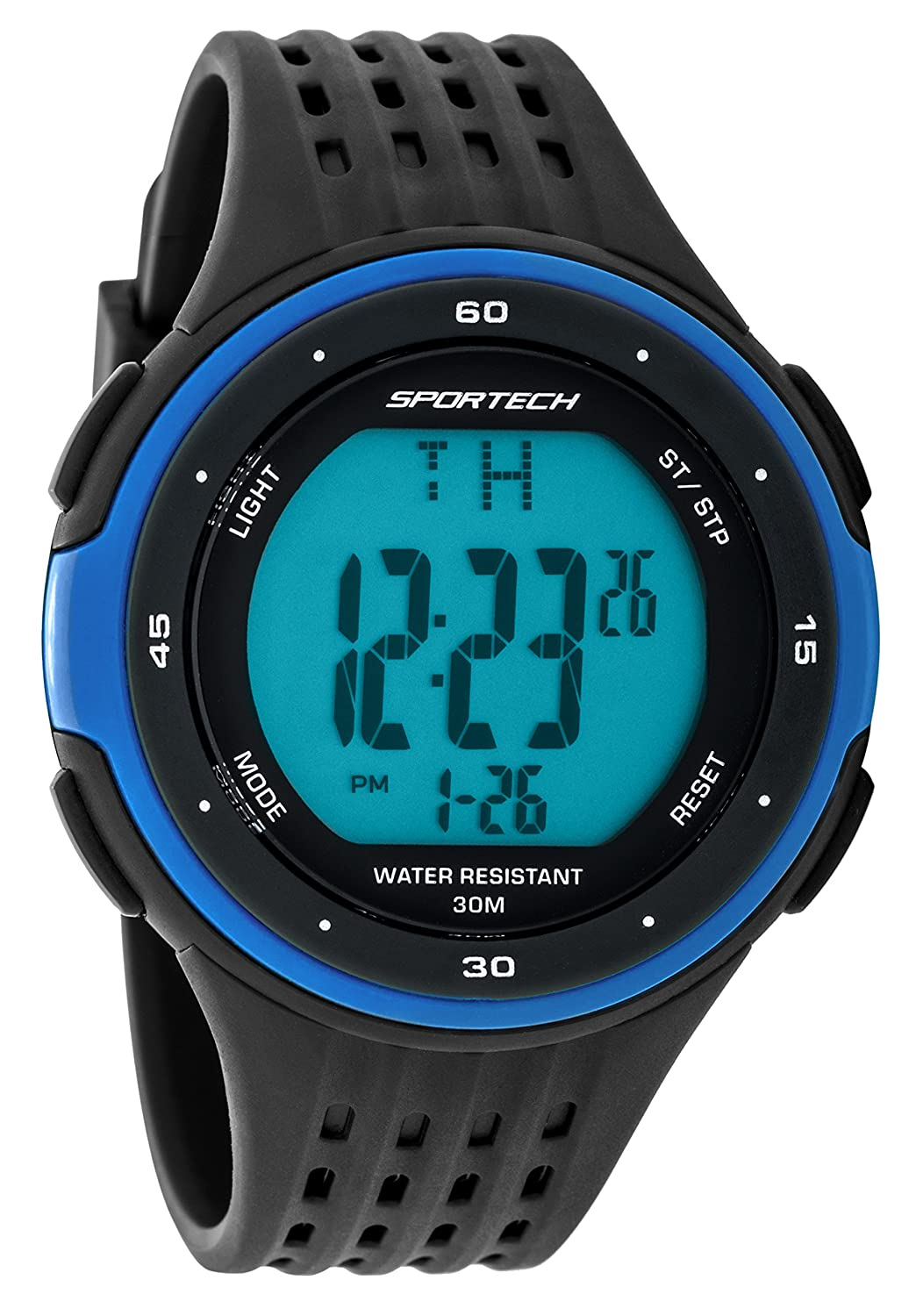 Sportech Men's | Classic Black & Blue Digital Water Resistant Sport Watch | SP12302