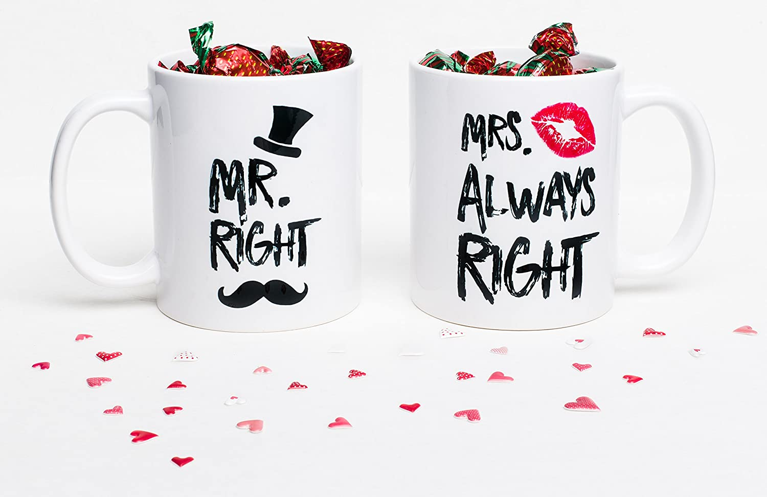 538dcd8b8 Amazon.com: Funny Wedding Gifts - Mr. Right and Mrs. Always Right Coffee  Novelty Mug Set - Engagement Gifts for Couples: Kitchen & Dining