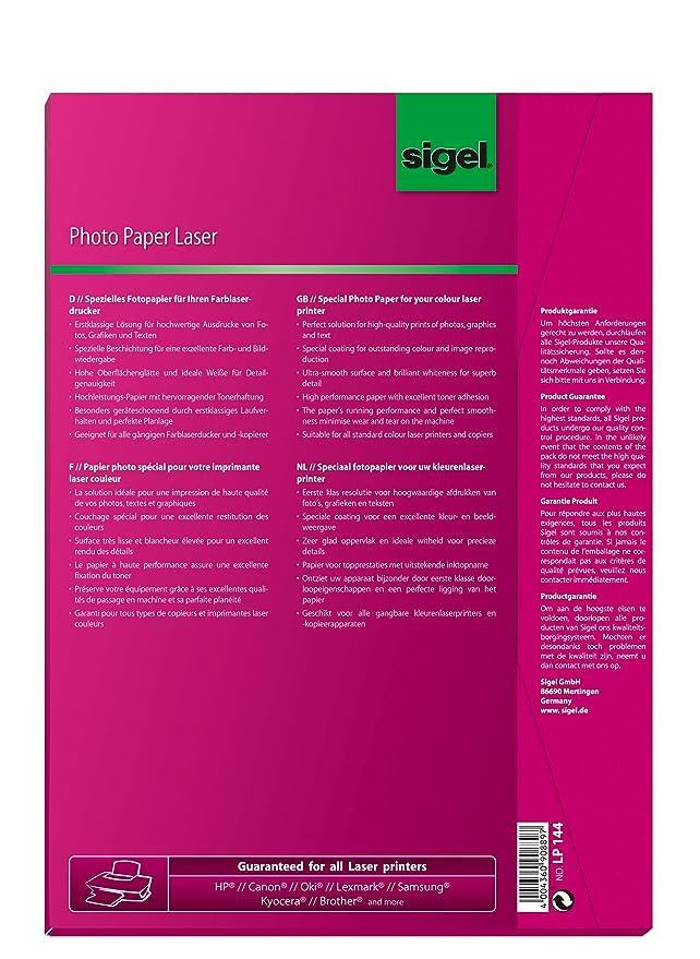 Sigel LP144 Fotopapier für Laser/Kopierer, A4, 100 Blatt, 2seitig ...
