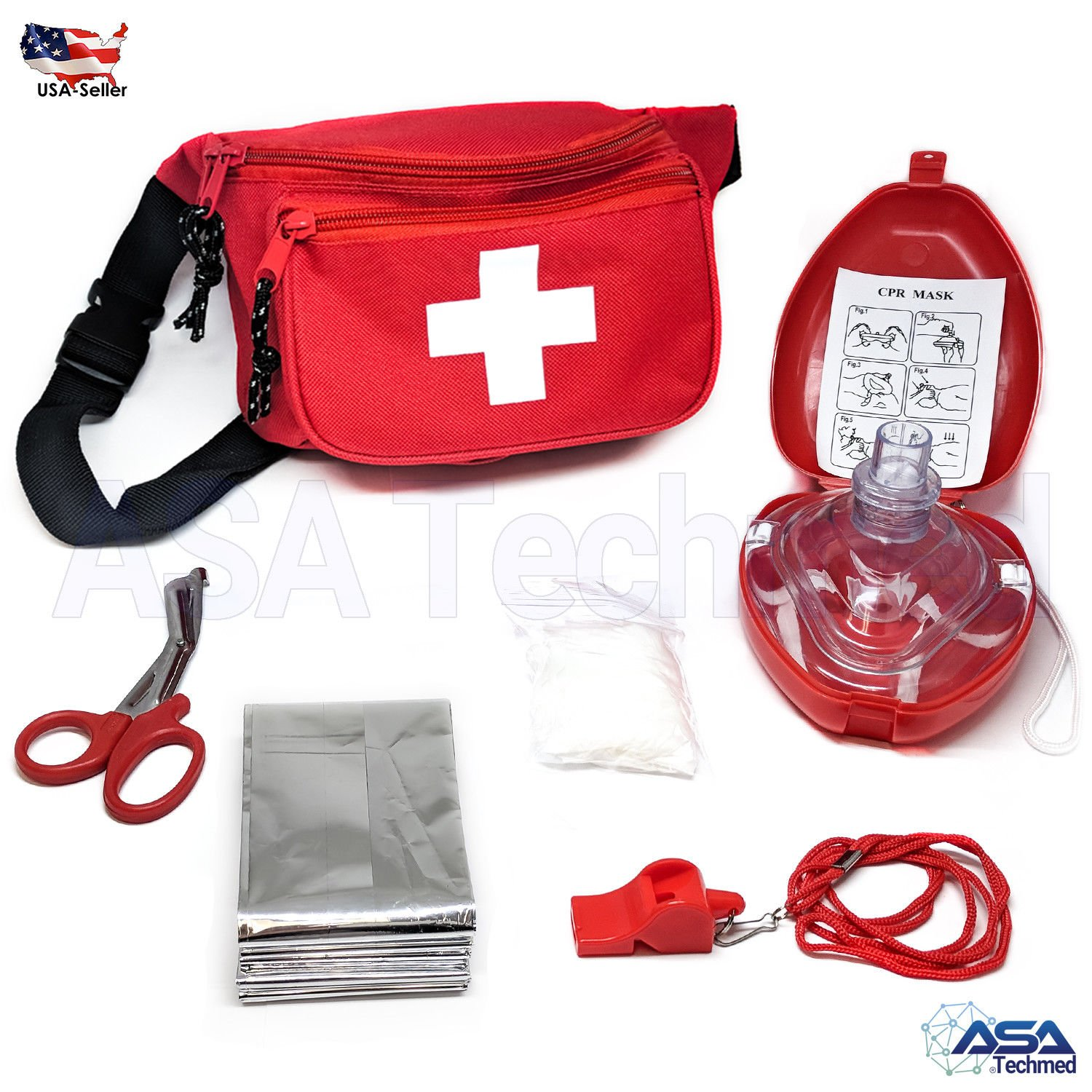 ASATechmed Lifeguard Bae Watch Style Kit (6 Piece) Compact for Emergency at Home, Outdoors, Car, Camping, Workplace, Hiking & Survival.