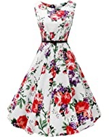 Mutelamb Women Vintage Sleeveless Dresses Floral robe Casual Party dress