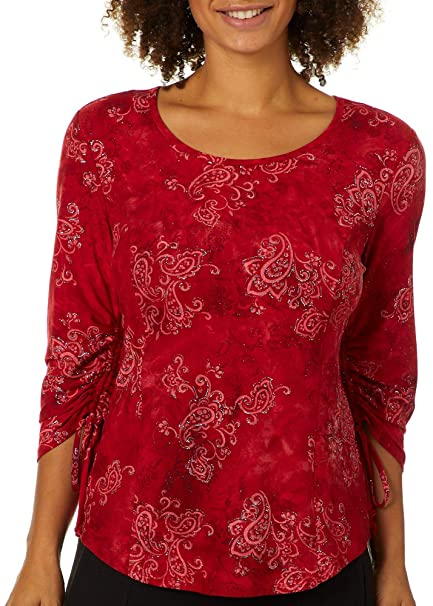 2a23f0d4bba51e Sami & Jo Womens Shimmery Paisley Print Top Small Red/Silver at Amazon  Women's Clothing store:
