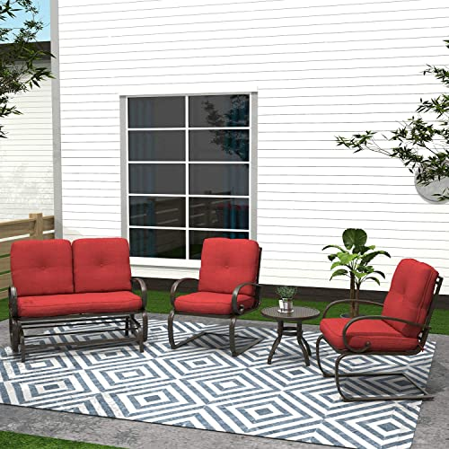 Cloud Mountain Finefind 4 Piece Metal Conversation Set Cushioned Outdoor Furniture Garden Patio Wrought Iron Conversation Set