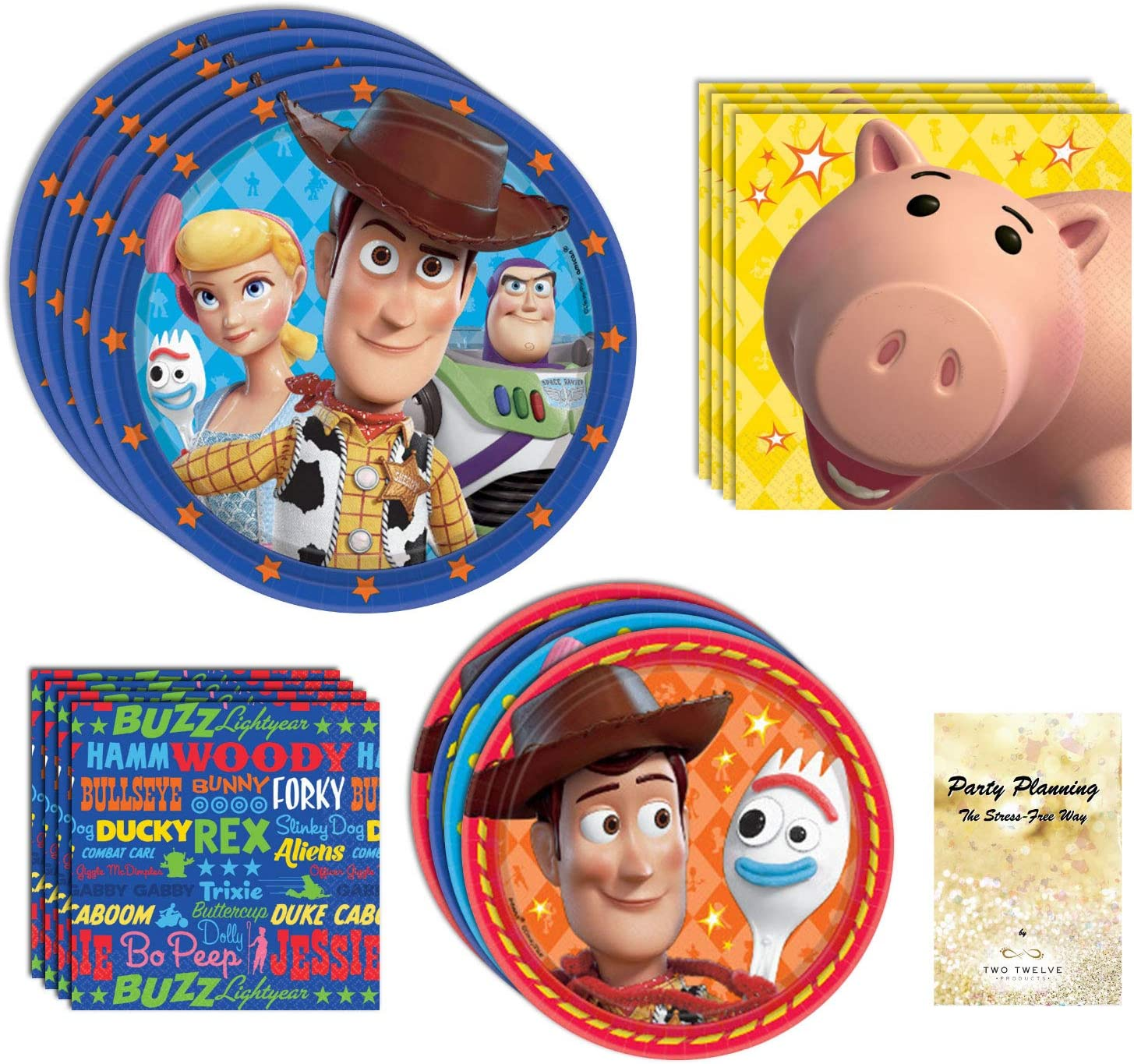 Toy Story 4 Party Supplies, Woody, Buzz, Bo Peep, and Forky, 16 Birthday Guests, 65 Pieces, Disposable Paper Dinnerware, Plate and Napkin Set
